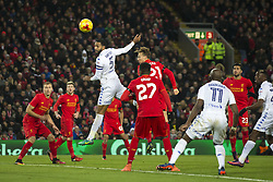 Halbfinale im Liga-Pokal Liverpool vs Leeds 1:0 in Liverpool / 291116<br /> <br /> ***LIVERPOOL, ENGLAND 29TH NOVEMBER 2016:<br /> Leeds United defender Kyle Bartley upper centre left heads wide during the English League Cup soccer match between Liverpool and Leeds at Anfield Stadium in Liverpool England November 29th 2016***
