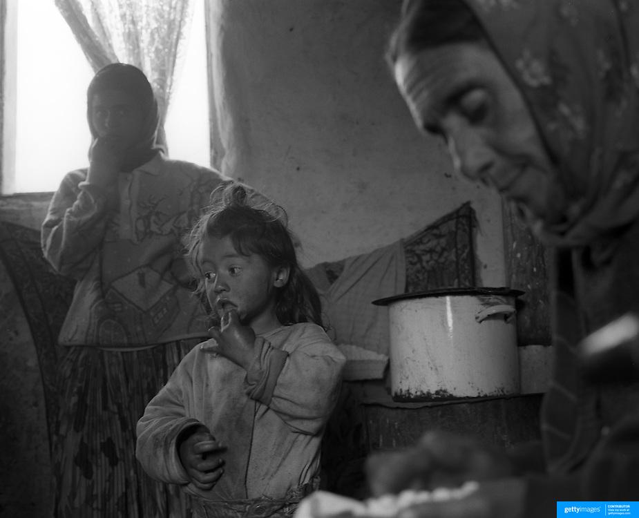 A Roma family in a gypsy community in Copsa Mica, Transylvania, Romania. 23rd July 2011. Photo Tim Clayton