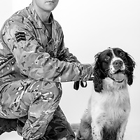 Bobby Denston, Army - Royal Army Veterinary Corps, Lance Corporal, Dog Handler, Charlie is an Arms Explosive Dog, Operations: Herrick, Mediteranian.  Both Bobby and Charlie have been nominated for an award to be presented at the world famous Crufts dog show in England,   Veterans Portrait Project UK Sennelager Germany