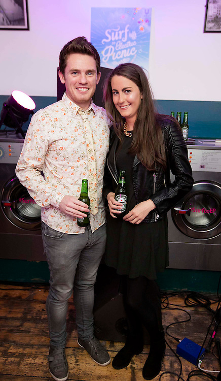 Repro Free: 20/08/2015 <br /> Paul Cahill and Aine Delany pictured at The Surf Laundry Club launch last night. Surf is bringing a world of fragrance to Electric Picnic this year via a giant laundrette, where festival-goers can go to look, and feel, fresh. Electric Picnic runs from September 4th-6th in Stradbally Hall, Co. Laois. Picture Andres Poveda