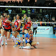 Scavolini Pesaro's players during their Women's Volleyball CEV Champions League semi final match at Burhan Felek Arena in Istanbul, Turkey on 20 March 2011. Photo by TURKPIX