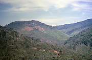 Deforestation forest clearance to male land for farming, hilly landscape on journey between Curitba and Sao Paulo, Brazil 1962