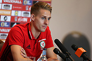 Dave Edwards of Wales speaks to the press during the Wales football team players media session at the Vale Resort Hotel, Hensol , South Wales on Tuesday 3rd October 2017, the team are preparing for their FIFA World Cup qualifier away to Georgia this week. pic by Andrew Orchard, Andrew Orchard sports photography