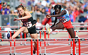 Brielle Dixon of Brandon Valley and Josephine Dal of Sioux Falls Lincoln leap over hurdles during the AA 100 meter hurdle race on the second day of the state high school track and field meet Saturday, May 25, 2019, at Howard Wood Field in Sioux Falls.