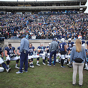 NEW HAVEN, CONNECTICUT - NOVEMBER 18:  Yale players during the Yale V Harvard, Ivy League Football match at the Yale Bowl. Yale won the game 24-3 to win their first outright league title since 1980. The game was the 134th meeting between Harvard and Yale, a historic rivalry that dates back to 1875. New Haven, Connecticut. 18th November 2017. (Photo by Tim Clayton/Corbis via Getty Images)