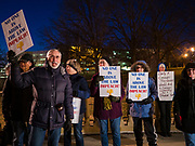 17 DECEMBER 2019 - DES MOINES, IOWA: About 300 people stood in front of the Iowa State Capitol in Des Moines in near freezing weather Tuesday evening to call for President Donald Trump's impeachment. The rally, and others like it around the US, come on the eve of an impeachment vote in the US House of Representatives.     PHOTO BY JACK KURTZ