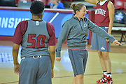 March 17, 2016: New Mexico State Aggies associate head coach Tamara Inoue gives her team instructions during the first practice day of the 2016 NCAA Division I Women's Basketball Championship first round in Tempe, Ariz.