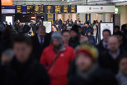 © Licensed to London News Pictures. 23/01/2017. London, UK. Southern Railway passengers experience distruption at Victoria station, as conductors strike today. Conductors in the RMT union are walking out for 24 hours over a dispute over changes to their role, which they claim could affect customer safety. However, strikes previously planned for 24, 25 and 27 January have been cancelled. Photo credit : Tom Nicholson/LNP