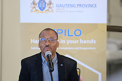 JOHANNESBURG, SOUTH AFRICA - APRIL 25: Gauteng Health MEC Dr Bandile Masuku at a handover by various stakeholders at the Nasrec quarantine site currently under construction. With isolation units, consultation areas, ICU capabilitiies, medical facilities, power points, drainage and ablutions, the quarantine site will have a total bed capacity of 2300 on April 25, 2020 in Johannesburg South Africa. Under pressure from a global pandemic. President Ramaphosa declared a 21 day national lockdown extended by another two weeks, mobilising goverment structures accross the nation to combat the rapidly spreading COVID-19 virus - the lockdown requires businesses to close and the public to stay at home during this period, unless part of approved essential services. (Photo by Dino Lloyd)