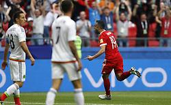 June 24, 2017 - Alexander SAMEDOV da Rússia comemora seu gol durante partida entre México x Rússia válida pela terceira rodada da Copa das Confederações 2017, neste sábado (24), realizada no Estádio Arena Kazan, em Kazan, na Rússia. (Credit Image: © Rodolfo Buhrer/Fotoarena via ZUMA Press)