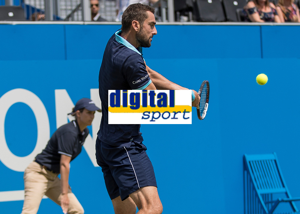 Tennis - 2017 Aegon Championships [Queen's Club Championship] - Day Four, Thursday <br /> <br /> Men's Singles: Round of 16 - Marin Cilic (CRO) Vs Stefan Kozlov (USA)<br /> <br /> Marin Cilic (CRO) with a backhand return of serve at Queens Club<br /> <br /> COLORSPORT/DANIEL BEARHAM