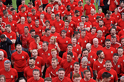 NEWPORT, WALES - Saturday, May 25, 2019: Delegates gather for their group photograph during day two of the Football Association of Wales National Coaches Conference 2019 at Dragon Park. (Pic by David Rawcliffe/Propaganda)