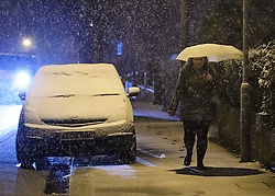 "© Licensed to London News Pictures. 12/01/2017. Luton, UK. Heavy snowfall on roads in Luton, Bedfordshire for the first time this winter, on January 12, 2017. Weather warnings are in place across the UK as a ""polar maritime airmass"" from northern Canada spreads across the country, bringing snow, ice, rain and freezing temperatures. Photo credit: Ben Cawthra/LNP"