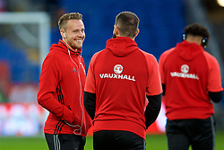 CARDIFF, WALES - Monday, October 9, 2017: Wales' Chris Gunter on the pitch before the 2018 FIFA World Cup Qualifying Group D match between Wales and Republic of Ireland at the Cardiff City Stadium. (Pic by Paul Greenwood/Propaganda)