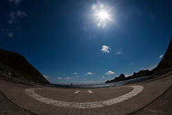 Oiseval (left) with the 'International Sea & Airport Lounge' helipad on Hirta, the largest island of the St Kilda archipelago, west-northwest of North Uist in the North Atlantic Ocean. It is one of Scotland's five World Heritage Sites..©Michael Schofield..