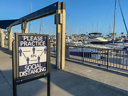 Practice Social Distancing Dana Point Harbor Signage