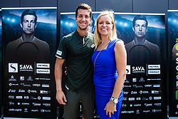 Aljaz Bedene Slovenian Tennis Player with Tea Starc during ATP Press conference with Aljaz Bedene, on July 25th, 2019, in Ljubljansko kopalisce Kolezija, Ljubljana, Slovenia. Photo by Grega Valancic / Sportida
