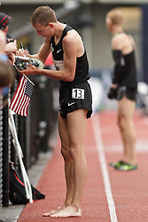 Olympic Trials Eugene 2012: men's 10,000 meter final, victory lap for winner and Olympic team qualifier Galen Rupp