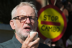 Jeremy Corbyn, former Labour Party leader, addresses hundreds of young people in Parliament Square taking part in a Global Climate Strike to demand intersectional climate justice on 24th September 2021 in London, United Kingdom. The Global Climate Strike was organised to highlight the detrimental influences through colonialism, imperialism and exploitation of the Global North on MAPA (Most Affected Peoples and Areas), which have contributed to them now experiencing the worst impacts of the climate crisis, and to call on the Global North to pay reparations to MAPA.