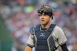 May 23, 2018 - Arlington, TX, U.S. - ARLINGTON, TX - MAY 23: New York Yankees catcher Austin Romine (28) looks to the dugout during the game between the New York Yankees and the Texas Rangers on May 23, 2018 at Globe Life Park in Arlington, TX. (Photo by George Walker/Icon Sportswire) (Credit Image: © George Walker/Icon SMI via ZUMA Press)