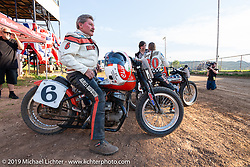 Gerald Chism (no. 6) on his Harley-Davidson tank-shift Flathead racer after the finals at the Spirit of Sturgis races at the fairgrounds during the Sturgis Black Hills Motorcycle Rally. Sturgis, SD, USA. Monday, August 5, 2019. Photography ©2019 Michael Lichter.
