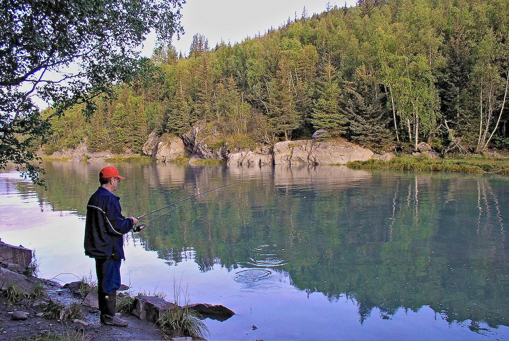 Alaska. Byrd Creek Coho (Silver Salmon) Fishing. Chugach State Park.
