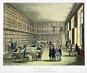 Library of the Royal Institution, Albermarle Street, London. From 'The Microcosm of London', Ackermann, London, 1808-1811. Illustrated by Pugin and Rowlandson. Aquatint.