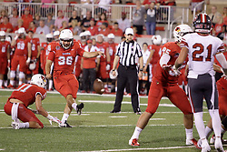 NORMAL, IL - September 01: Spencer Schnell holds the ball for an extra point attempt by Sam Fenlason during a college football game between the ISU (Illinois State University) Redbirds and the Saint Xavier Cougars on September 01 2018 at Hancock Stadium in Normal, IL. (Photo by Alan Look)