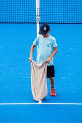 PORTOROZ, SLOVENIA - SEPTEMBER 18: Ball boy drying the court during the double finals of WTA 250 Zavarovalnica Sava Portoroz at SRC Marina, on September 19, 2021 in Portoroz / Portorose, Slovenia. Photo by Nik Moder / Sportida