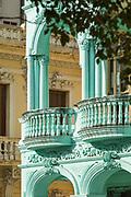 Close up of colonial balcony with columns, Havana, Cuba