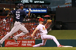 August 22, 2017 - St Louis, MO, USA - St. Louis Cardinals starting pitcher Luke Weaver steps on first base ahead of the San Diego Padres' Jabari Blash after receiving the toss from first baseman Jedd Gyorko in the third inning on Tuesday, Aug. 22, 2017, at Busch Stadium in St. Louis. (Credit Image: © Chris Lee/TNS via ZUMA Wire)
