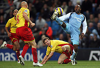 Photo: Paul Thomas.<br /> Manchester City v Watford. The Barclays Premiership. 04/12/2006.<br /> <br /> Darius Vassell of Man City (R) juggles the ball past three Watford defenders.