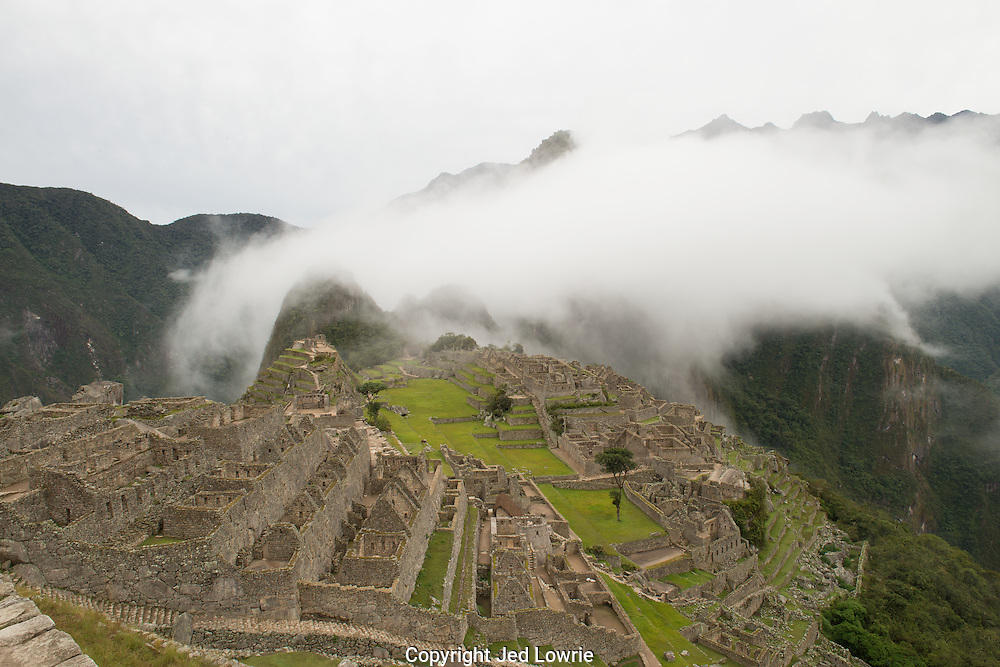 Being one of the first people into the ruins we got an unobstructed view of Machu Picchu. The fog rolled in and covered Huayna Picchu creating the perfect backdrop for the World Heritage Site.