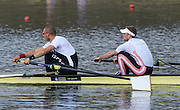Caversham  Great Britain.<br /> GBR M2- Bow Alex GREGORY and Mo SHIHI, as they start their run at the 2016 GBR Rowing Team Olympic Trials GBR Rowing Training Centre, Nr Reading  England.<br /> <br /> Tuesday  22/03/2016 <br /> <br /> [Mandatory Credit; Peter Spurrier/Intersport-images]