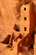 Evening light on Square Tower House Ruins, Mesa Verde National Park (World Heritage Site), Colorado