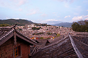 Chinese architecture and traditional roof designs in Lijiang, Yunnan, China.