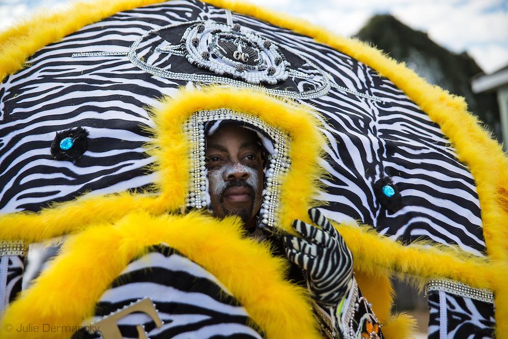 2/17/15, New Orleans, LA, Mardi Gras Day,  The Fi-Yi-Yi  Mardi Gras Indian Tribe lead their own Mardi Gras Parade in the 7th Ward.