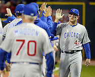 CLEVELAND, OH - OCTOBER 25: Anthony Rizzo of the Chicago Cubs greets teammates on the field before the start of Game 1 of the 2016 World Series against the Cleveland Indians at Progressive Field on Tuesday, October 25, 2016 in Cleveland, Ohio. (Photo by Ron Vesely/MLB Photos via Getty Images)