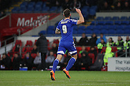 Daryl Murphy of Ipswich celebrates scoring his side's first goal.<br /> <br /> Skybet Football League Championship match, Cardiff City v Ipswich Town at the Cardiff city stadium in Cardiff, South Wales on Tuesday 21st October 2014<br /> pic by Mark Hawkins, Andrew Orchard sports photography.