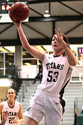 15 January 2014:  Shelby Jackson during an NCAA women's division 3 basketball game between the Millikin Big Blue and the Illinois Wesleyan Titans in Shirk Center, Bloomington IL