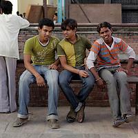 Asia, Nepal, Kathmandu. Teens in Kathmandu.