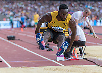 Athletics - 2017 IAAF London World Athletics Championships - Day One<br /> <br /> Event: Men's Long Jump Qualifying<br /> <br /> Ramone Bailey (JAM) in the air <br /> <br /> COLORSPORT/DANIEL BEARHAM