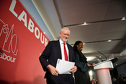 © Licensed to London News Pictures. 09/04/2018. London, UK. Labour Party leader JEREMY CORBYN leaves the stage following the launch event for the Labour Party local election campaign launch in central London.  Labour are expected to make gains in the capital, potentially taking traditionally Conservative strongholds. Photo credit: Ben Cawthra/LNP