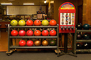 Bowling ball rack and sticker dispenser at Hy-Way Bowl, Union, NJ 12/6/2007.