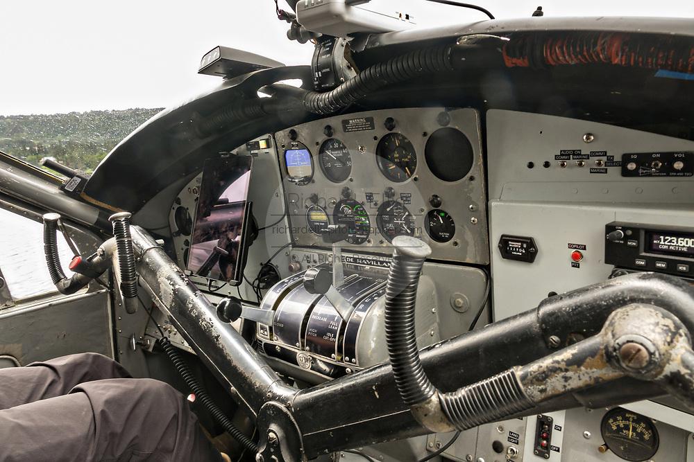 Cockpit of an old de Havilland Canada DHC-3 Otter seaplane preparing for take off from Beluga Lake seaplane base in Homer, Alaska.