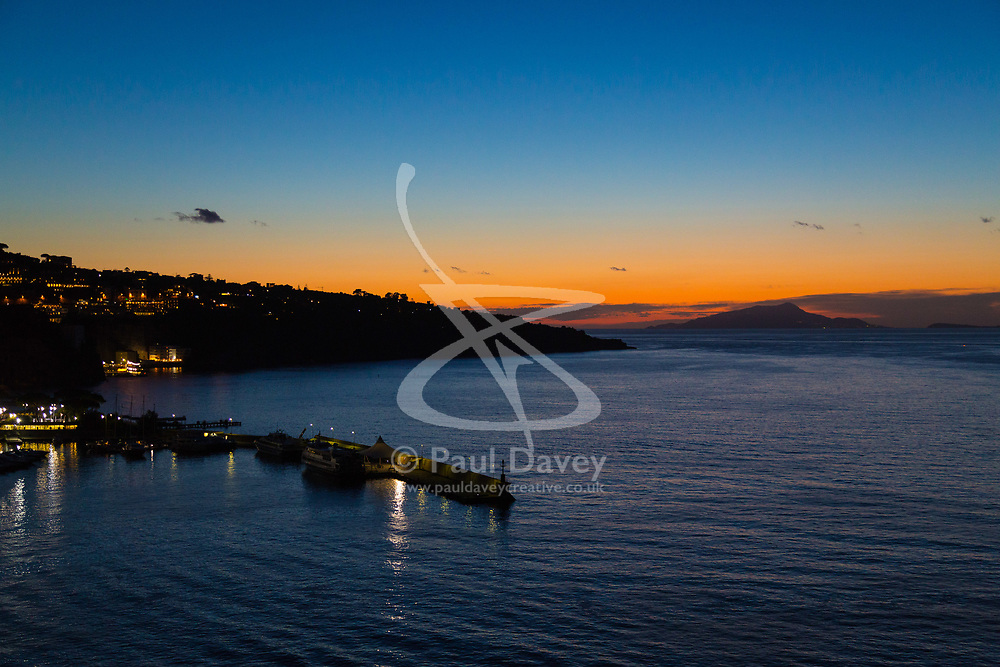 Sorrento, Italy, September 18 2017. The afterglow of sunset  in Sorrento, Italy. © Paul Davey