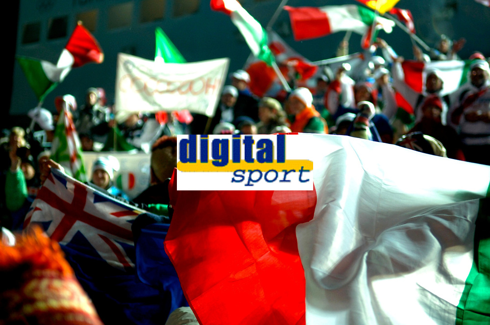 Photo: Catrine Gapper.<br />Winter Olympics, Turin 2006. Womens Bobsleigh. 21/02/2006. <br />Italian jubilation at win of Bronze Medal.