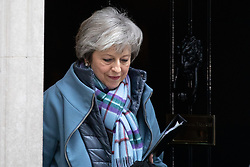 © Licensed to London News Pictures. 29/01/2019. London, UK. British Prime Minister Theresa May leaves 10 Downing Street to open a debate in the House of Commons on amendments to her plan for Brexit, which could shape future talks with the EU. Later today, speaker John Bercow will announce which amendments will be put forward. Photo credit : Tom Nicholson/LNP