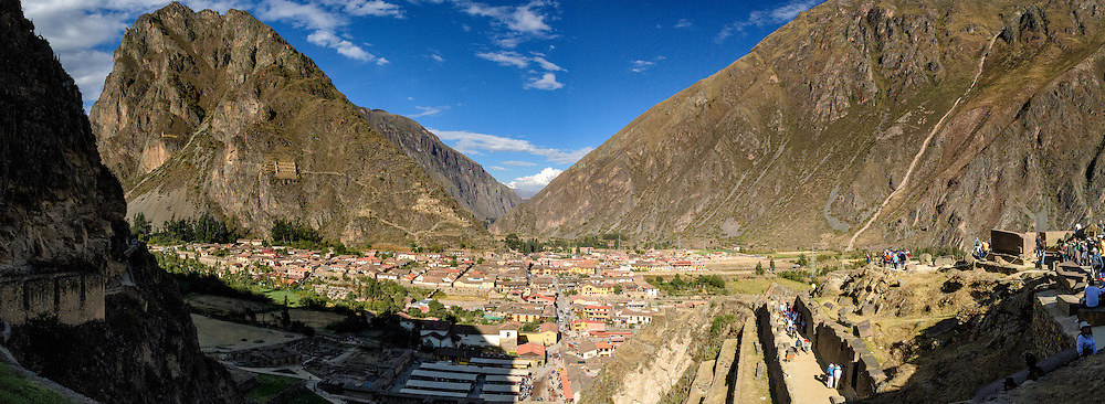 Town of Ollantaytambo seen from the top of the Inca Ruins