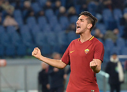 December 1, 2017 - Rome, Italy - Lorenzo Pellegrini celebrates after goal 3-0 during the Italian Serie A football match between A.S. Roma and Spal at the Olympic Stadium in Rome, on december 01, 2017. (Credit Image: © Silvia Lore/NurPhoto via ZUMA Press)